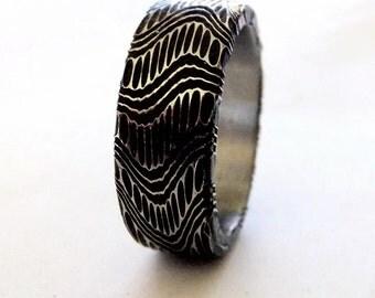 Damascus Wedding Ring ( Black Oxide High Contrast )