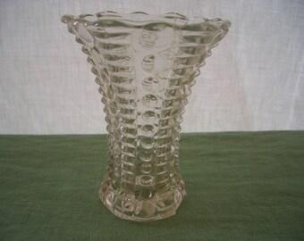 Vintage Vase Pressed Glass Beaded and Ribbed Vase