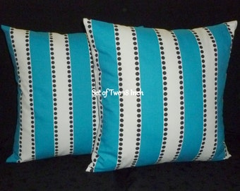 Pillows, Decorative Pillows, Accent Pillows, Throw Pillows, Pillow Covers, - Two 18inch Turquoise, Black and White Stripe