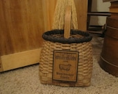 Handwoven Wool Storage Basket  Primitive Decor  Rug Hooking  1803 Ohio Farm Baskets  Wool Roving Storage  Wool Felting Basket