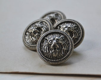 Vintage Silver Metal Button Set with Lion Heads Gryphon- Lot 605