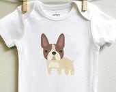 Baby clothes, french bulldog. Long or short sleeve. Your choice of size.