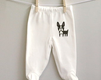 Boston Terrier baby pants, footed baby pants