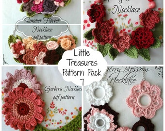 CROCHET PATTERN  Discount Pack #7, PDF Patterns crochet necklaces - crocheted necklace, crochet flowers, flower necklace, photo tutorial