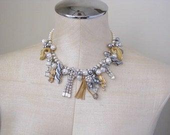 Charm Rhinestone Necklace Statement One Of A Kind Gold Bib Vintage Jewelry