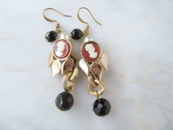 Cameo Earrings One Of A Kind Gold Black Drop Reconstructed Vintage Jewelry