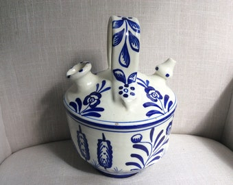 Blue and White Painted Talavera Majolica Botijo Vessel Water Jug