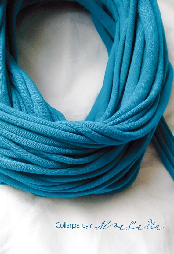 Vivid azure necklace/scarf - reay to ship