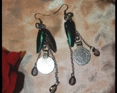 Tribal Assemblege Earrings w/Thai Beetle Wings & Kuchi Elements (pair)