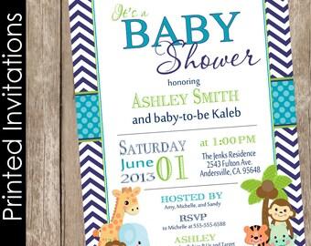 Printed Boy Safari Baby Shower Invitation, safari, chevron, teal, navy, jungle, typography (FREE ENVELOPES)