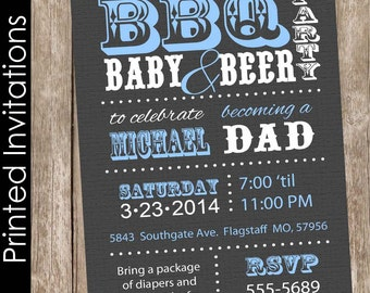 Printed Barbecue and baby talk baby shower invitation, bbq baby shower invitation, grey, blue, typography (FREE ENVELOPES)