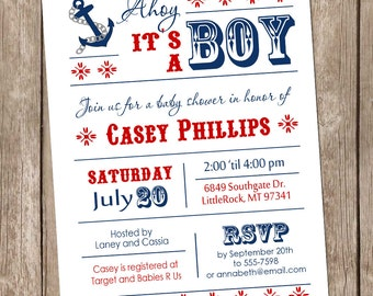 Nautical Ahoy it's a boy baby shower invitation, anchor, nautical, typography, modern, boy baby shower invitation, printable invitation