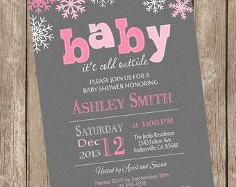 baby its cold outside baby shower invitation winter baby, Baby shower invitations