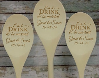Eat Drink   Be Married Personalized Wooden Spoon wedding favor  Bridal  Shower Favor Kitchen ShowerBridal shower prizes   Etsy. Gift Ideas For A Kitchen Tea Party. Home Design Ideas