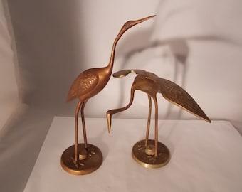 Vintage Brass Pelicans On Pedestals