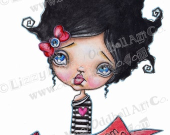 Mixed Media Girl Big Eye Giclee Art Print Signed Reproduction Oddie From Canada by Lizzy Love [IMG#135]