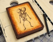 Kindle Leather Cover - Two Headed Skeleton - Customizable - Free Personalization