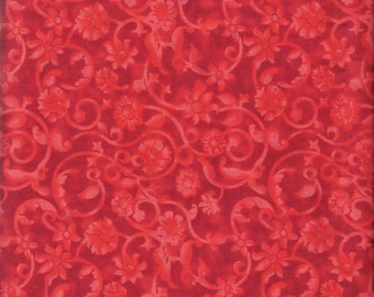 Red Fabric Red Floral Fabric Red on Red 4 Yards Red Swirl Fabric Red Blender Fabric Red Cotton Quilting Fabric Sewing Supplies YacketUSA
