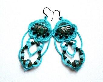 Tatted Lace Teal Blue Green Chandelier Style Dangle Czech Glass Bead Earrings