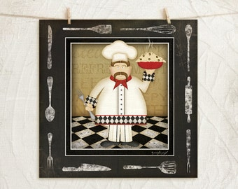 Kitchen Cuisine Chef VI-12x12 Art Print - Kitchen, Home, Gifts, Wall Decor - Chef, Utinsels, Food, Coffee -White, Black, Red, Gold
