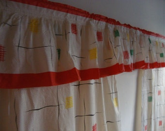 Rare Find : 1950's Vintage Modern Kitsch Printed Plastic Kitchen Curtains with Valance and Italian Cooking Theme