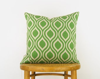 18 x18 or 20x20 Decorative Throw  Pillows | Green Flash & Natural Beige Pillow Case | Geometric Ogee Slip Cushion Cover | Fresh Garden Decor