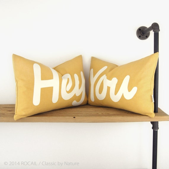 Monogram pillow, 12x18 lumbar decorative throw pillow case - Word Outdoor cushion cover with YOU applique in white and mustard yellow