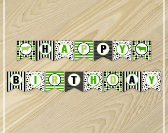 Cow Party - Happy Birthday Banner - Farm Birthday Party