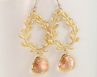 Peach Earrings, Gold Laurel Leaf Champagne Earrings, Blue, Green, Pink Wedding Jewelry, Bridesmaid Gifts, Bridal Jewelry, Christmas Gift