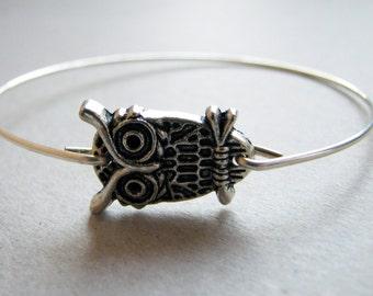 Owl Bracelet, Silver Owl Bangle, silver owl bracelet, silver bangle bracelet, sideways owl bangle