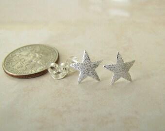 Dream Star Sterling Silver Stud Earrings, Minimalist, texture Star studs
