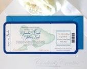 Watercolor Boarding Pass Invitation featuring the island Maui with aqua blue Envelope for destination, beach, or tropical wedding or party