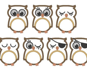 OWL 7 machine embroidery  fill stitch and  applique designs, 7 various