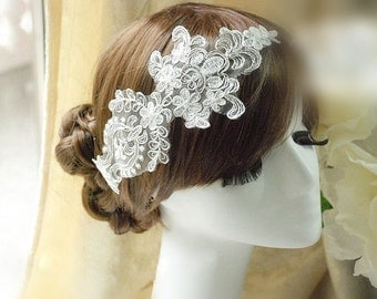 Ivory Alencon Lace Applique With Luxury Silver Thread Embroidered Patch For Wedding Supplies Bridal Hair Flower Headpiece 1 Pcs