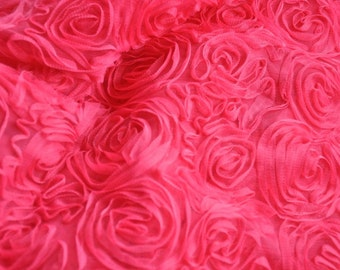 Hot Pink Rosette Chiffon Fabric Roses Fabric 47 Inches Wide 1 Yard For Wedding Dress Veil Costume Supplies