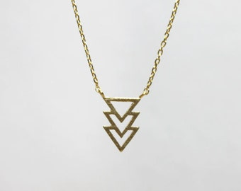 Gold Three Triangle Arrow Necklace - S2332-2