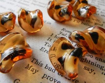 Glass Mahogany Twist Beads - 9pcs