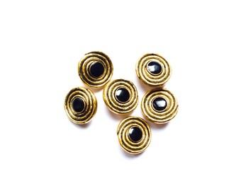 6 Black & Gold Metal Vintage Buttons