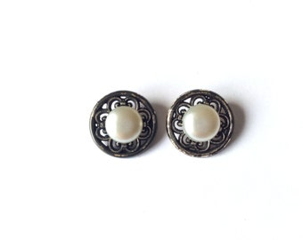 2 White & Antique Silver Vintage Buttons