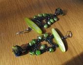 Flower earring,green and blue,pearl,MOP,dangle,chandelier,long earrings,fabric flower,petal