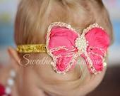 Shocking Pink Butterfly Headband, Shocking Hot Pink Baby Headband, Gold and Hot Pink Glitter Headband, baby Girl Headband, Newborn Headband