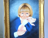 Quirky Vintage Oil Painting Portrait: Young Girl with Piglet