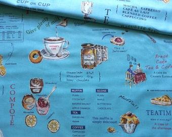 Japanese Fabric Cotton Yuwa - Suzuko Koseki - English Cafe Blue - a yard
