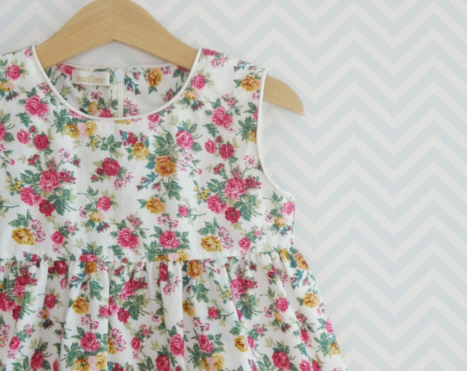 Baby girl and Toddler dress, Vintage-inspired floral print little girl dress, First Birthday dress, Baby pinafore style dress
