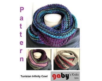 Crochet Pattern for Tunisian Infinity Cowl