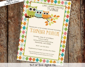 twins owl baby shower invitation owl first birthday baby boy shower twin couples shower gender reveal (item 158) shabby chic invitation