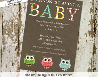 owl baby shower invitation gender neutral gender reveal couples shower diaper twins bring a book bash (item 149) shabby chic invitations