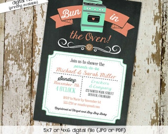 bun in the oven invitation gender neutral mint coral oven chalkboard sprinkle couples gender reveal coed (item 1418) shabby chic invitations