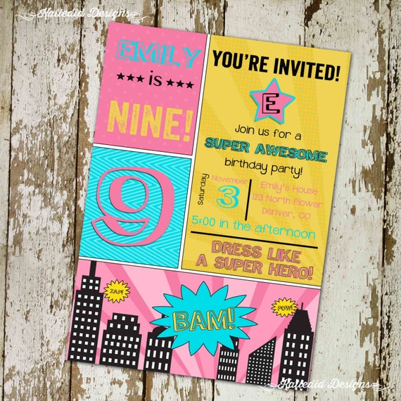super hero comic book birthday invitation little girl birthday party bachelorette cityscape retirement party adults only 268 Katiedid Design