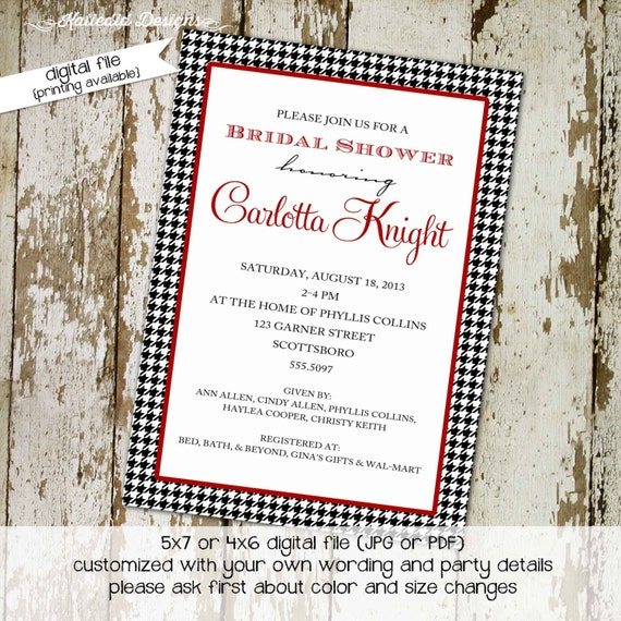 bridal shower invitation houndstooth retirement rehearsal dinner engagement party baby shower baby sprinkle gender reveal (item 364) shabby